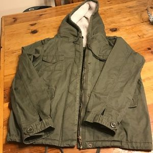 Army green lightweight Sherpa lined jacket